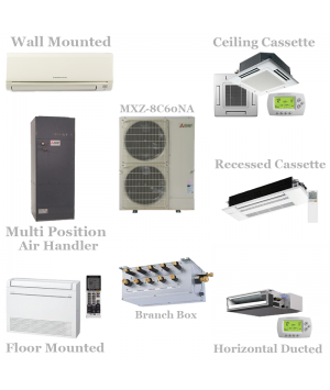 Mitsubishi 8 Zone Mini Split Heat Pump AC System MXZ-8C60NA - 60,000 BTU With Up To 8 Indoor Units