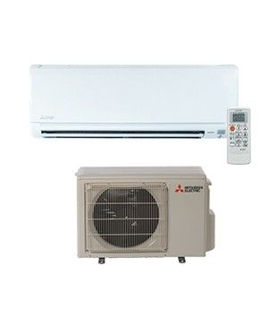 Mitsubishi 9K BTU 16 SEER Heat Pump System with Blue Fin anti-corrosion treatment