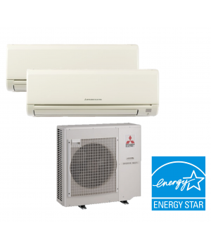 MITSUBISHI MXZ-2C20NA 2-ZONE HEAT PUMP Ductless Mini Split WITH TWO (2) 9,000 BTU INDOOR UNITS