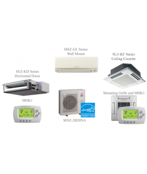 MXZ-2C20NA Split Air Conditioning and Heating 20K BTU Ductless Mini Split - 2 Indoor Units