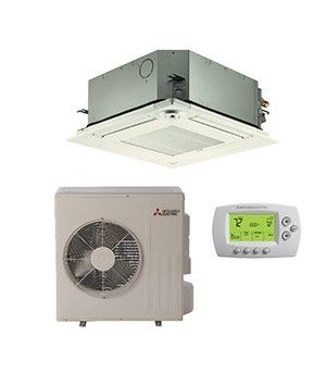 Mitsubishi 18,000 BTU Heat Pump Ductless Mini Split With Ceiling Cassette (20.7 SEER)