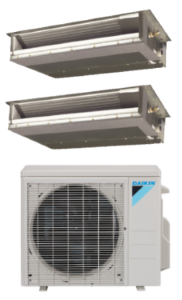 Daikin 2 Zone 18K BTU Heat Pump With Two (2) 9K BTU Concealed Ducted Units