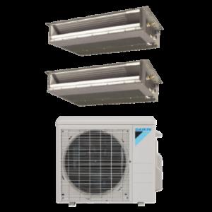 Daikin 2 Zone Mini Split Heat Pump AC System 2MXS18NMVJU - 18,000 BTU With 2 9,000 BTU Concealed Duct Units