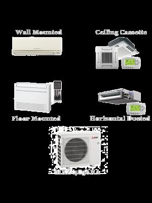 Mitsubishi 4 Zone Mini Split AC Heat Pump System