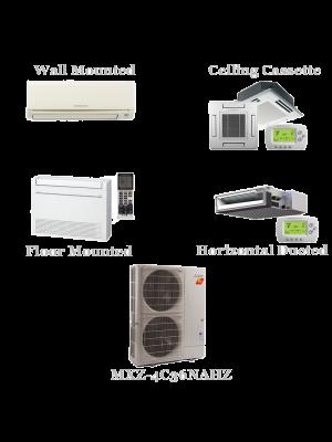 Mitsubishi 4 Zone Mini Split AC Heat Pump Hyper Heat System