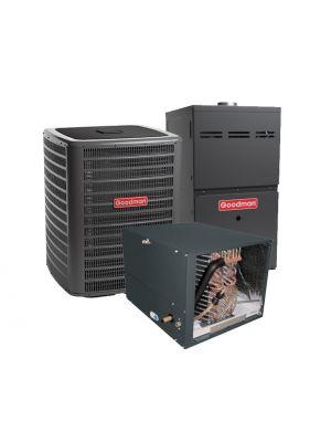 Goodman 4.0 Ton 13 SEER 80% Efficient 80,000 BTU Single Stage Gas Furnace & Air Conditioning System - Horizontal