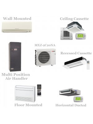 Mitsubishi 2 Zone Mini Split Heat Pump AC System MXZ-2C20NA1 - 20,000 BTU With 2 Indoor Units