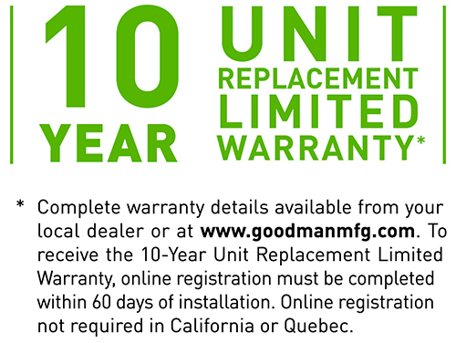10 Year Unit Replacement Limited Warranty