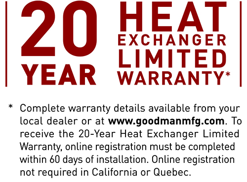 20 Years Heat Exchanger Limited Warranty